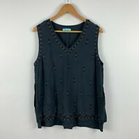 Blue Illusion Womens Top Size Large Grey Sleeveless V-Neck Floral Beads