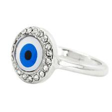 Rhodium Plated Clear Crystal Turkish Nazar Greek Evil Eye Ring