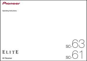 Pioneer SC-63 / SC-61  AV Receiver  Owner's Manual - Operating Instructions