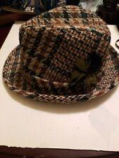 Vintage Fedora Hat Wool Houndstooth Mens Sz 7 1/8