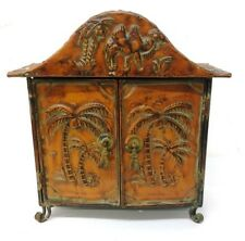 "Vintage Solid Copper Cabinet w. Tommy Bahama/Safari Motiff 15"", 7-lbs Lot 1210"