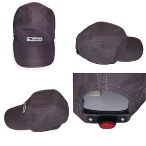 Brooks Running Hat Reflective Adjustable Gray Cap Red Light Strap NOT WORKING