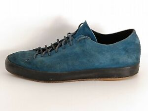 Feit Men's Blue Suede Lace-up Designer Sneakers Handmade Goodyear Size 45 Low