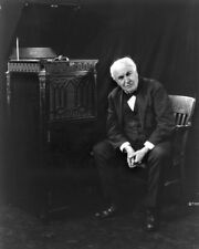 New 8x10 Photo: Inventor Thomas Edison by his Phonograph Record Player - 1921