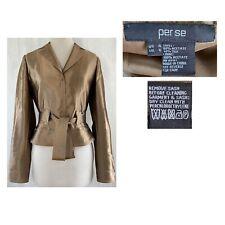 PER SE Size 4 Women's Tailored Brown Satin Crop Snap Jacket with Belt EUC