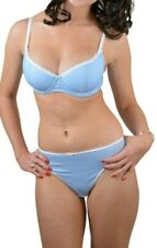 Blue & White Polka Dot Underwired foam lined Bra OR Thong Pretty lingerie set