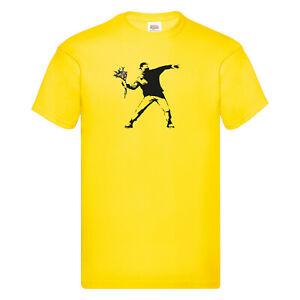 T-Shirt Banksy Flower Thrower Grafik Design Premium Druck XS S M L XL 2XL