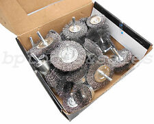 """40pc Wire Wheel Brush Cup Assortment Crimped Steel 1/4"""" Shank Drills Rust Scale"""