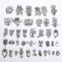 20Pcs Tibetan Silver Owl Charms Animal Crafts Pendants DIY Jewelry Making
