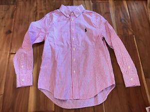 girls ralph lauren small 8 pink purple Striped oxford shirt new!