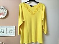 Jones New York Womens Size 3X Top Shirt Blouse Yellow Lacey V-Neck 3/4 Sleeve