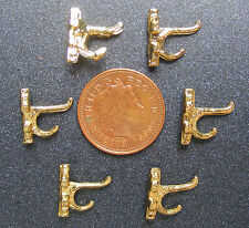 1:12 Scale 6 Metal Coat Hooks Tumdee Dolls House Miniature Clothing Accessory 08