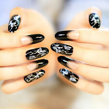 24x Black Retro Long False Nails Stiletto Full Tips Luxury Nail Art Office Gifts