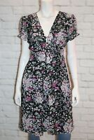 Miss Shop Black Floral Chiffon Short Sleeve Tea Dress Size 16 BNWT #SQ71