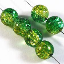Lot de 20 perles craquelées en verre 10mm Vert Jaune