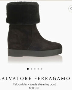 """NWOT Salvatore Ferragamo """"Falcon"""" Black / Nero Suede Shearling Boot 9.5-10M RARE"""