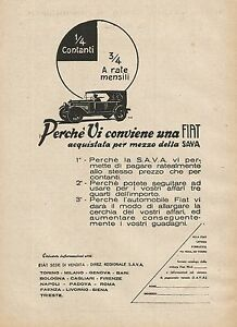 Y0730 Fiat Bought For Half Of Sava - Advertising 1927