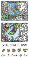 COLOR ME BEAUTIFUL Hampton Art Coloring Clear Stamp Set Scrapbook Stamping SALE