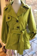 Siguiente Verde Trinchera Abrigo Chaqueta Mac UK 14 Globo cenefa efecto globo de Algodón Cintura Lazo