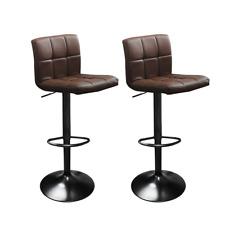 Refurbished Dark Brown Set of 2 Swivel Hexagrid Leather Bar Stools with Footrest