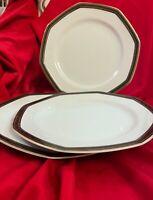 Set of 3 Christopher Stuart Black Dress 10 1/4 Dinner Plates Gold Trim V. Good