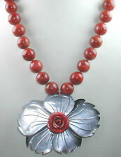 ARTISAN Rose Coral Necklace with Large Grey Mother of Pearl Flower