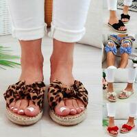 Women Slip On Sandals Bow Flat Mule Summer Sliders Espadrille Shoes Sizes Ladies
