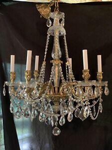 Exquisite Vintage Bronze Crystal French Chandelier Rococo Stunning