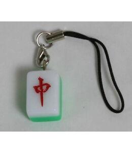 Mahjong Tile Red / Green / White Dragon Cell Phone Bag Charm Strap NEW