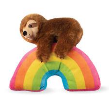 Fringe Studio Sloth On A Rainbow Plush Squeaker Dog Toy