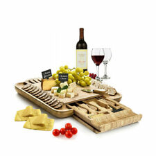 Cheese Plates Bamboo Board With Cutlery Set, Wood Charcuterie Platter And Meat 4