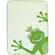 Ibena Cuddly Kides Ivory and Green Frog Throw Blanket