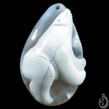 Hand carved Polar bear Natural Calcified Agate Pendant DK07244