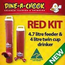 DINE-A-CHOOK RED/PINK / 4.7 Chicken Feeder & Drinker / Chook Waterer Twin Cup /