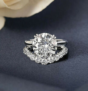 6.84Ct White Round Solitaire Diamond Wedding Ring Set Solid 925 Sterling Silver