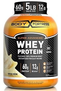 Body Fortress Whey Protein Powder 5 lb Banana Creme expires 7/2022 46 servings