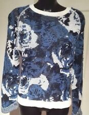 WHO'S WHO womens Jumper  Large/UK 14  Blue/White  Floral Roses Pixals Made in UK