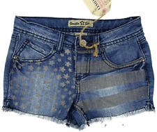 Girls Jeans Shorts Size 12 Vanilla Star American Flag 4th July