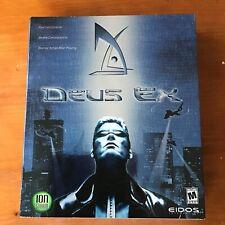 TESTED Deus Ex PC Game Rare Shiny Cover Big Box Eidos Ion Storm COMPLETE Manual