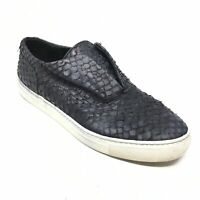 Women's Vince Loafers Shoes Sneaker Size 7M Black Leather Snakeskin Embossed T15