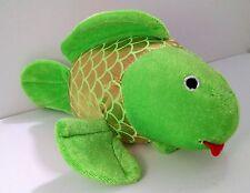 "Toy Factory Green&Yellow Goldfish Fish w/Tongue out 9.5"" Plush Stuffed Animal"