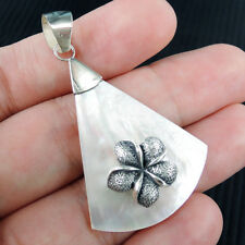 Flower Design Mother of Pearl 925 Sterling Silver Pendant, Fan Shape, Hibiscus