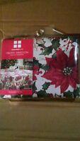 "NEW NIP Christmas Essential Home Oblong Metallic Poinsettia Tablecloth 60""x84"""