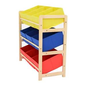 Red/yellow/blue 3 Tier Wood Toy Unit 9 Boxes/Drawers Kids/Childrens Storage
