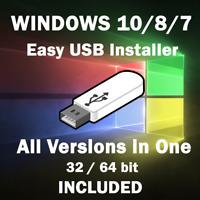 WINDOWS 10, 8, 7 ALL VERSIONS Multi Boot [16GB USB 64bit] INSTALLATION Software