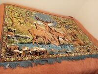 "Vintage 1950s Wildlife Deer Buck Fawn Tapestry Wall Hanging/Area Rug 67""X47"" App"