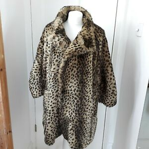 RIVER ISLAND Faux Fur Leopard Print Warm Winter Coat L'Art Cropped sleeve Sz 14
