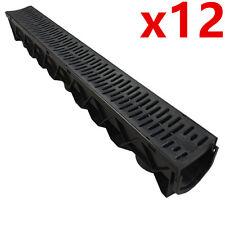 12 x Drain Channel Deep Drainage Plastic PVC Water Rain Storm Shower Wetroom 1m