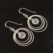 925 Sterling Silver Natural Rainbow Moonstone Gemstones Round Circle Earrings