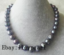 Riesiges 12-13 mm schwarz Süßwasser Perle Halskette